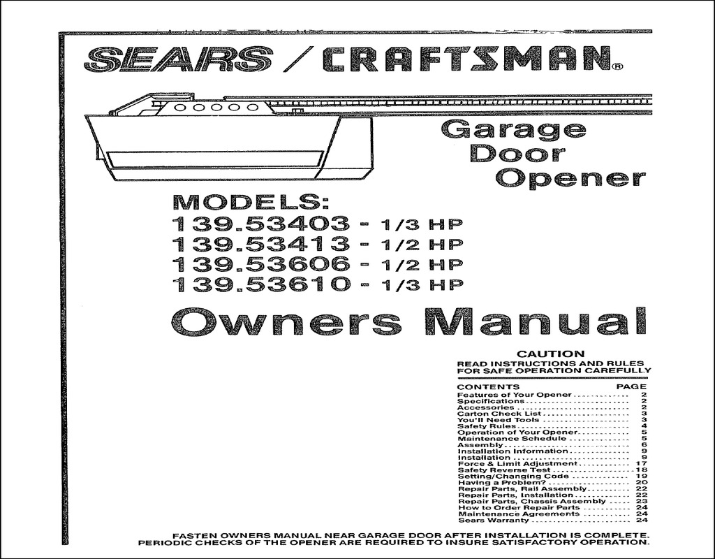 Sears Craftsman Garage Door Opener Manual